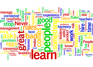 Word cloud on key words from the many rules within Jonathan Rosenberg's 2010 talk on fostering a culture of innovation